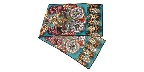 Zelenomodrý hedvábný šál s motivem kapradin