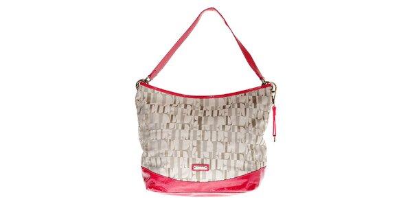 Dámská hobo kabelka Elle v šedo-růžové barvě