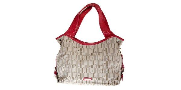 Větší tote kabelka Elle v šedo-růžové barvě
