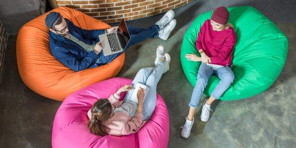 Odolné sedací vaky ve 12 barvách a 2 velikostech