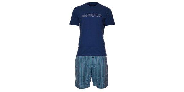 Pánské světle modré pyžamo Calvin Klein s krátkými kalhotami