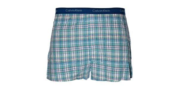 Pánské tyrkysově modré slim fit trenýrky Calvin Klein s kostičkovaným vzorem