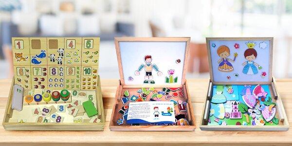 Dřevěné hračky a tabulky s abecedou i číslicemi