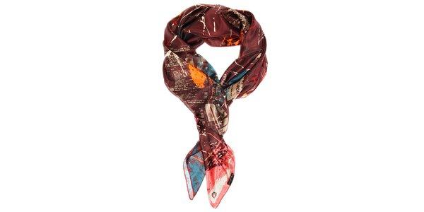Dámský tmavě vínový hedvábný šátek Fraas s potiskem