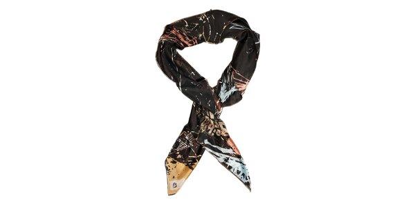 Dámský tmavě hnědý hedvábný šátek Fraas s potiskem