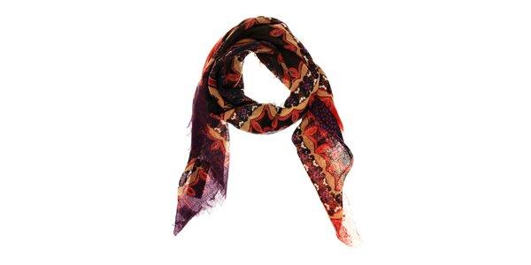 Dámský fialovočervený vlněný šátek Fraas