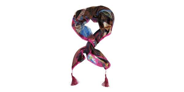 Dámský tmavě fialový hedvábný šátek Fraas s třásněmi