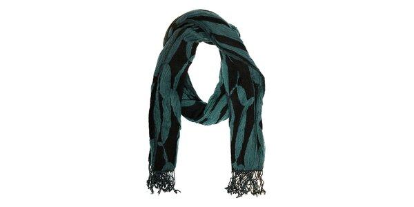 Dámský černý šál Fraas s tyrkysově modrým vzorem