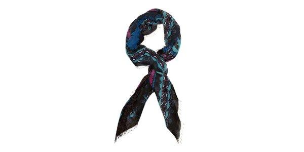 Dámský modrofialový vlněný šátek Fraas