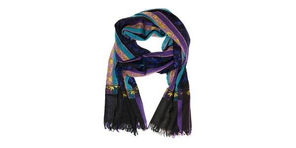 Dámský fialovo-černý vlněný šál Fraas