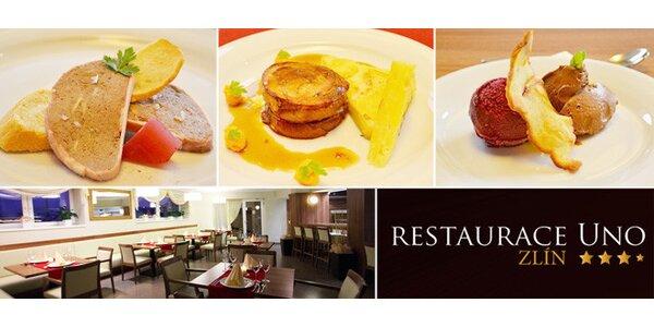 Tříchodové degustační menu pro dva v restauraci Uno