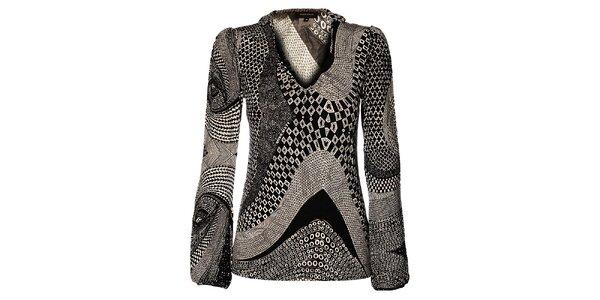 Černobílé Miss Sixty triko se vzorem