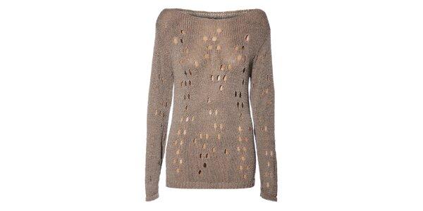 Dámský béžový svetr Miss Sixty s děrovaným vzorem