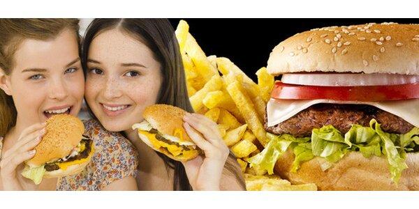 DVA šťavnaté hovězí burgery a DVĚ porce hranolek