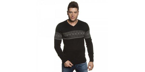 Pánský černý svetr Lois s šedým vzorem