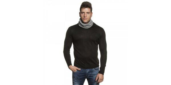 Pánský černý svetr s šedým límcem