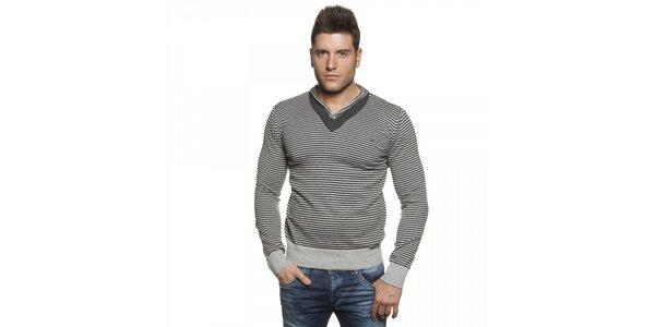 Pánský šedý proužkovaný svetr Lois