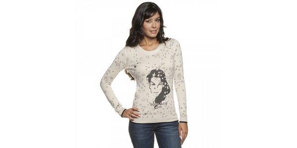 Dámský béžový svetr Lois s potiskem