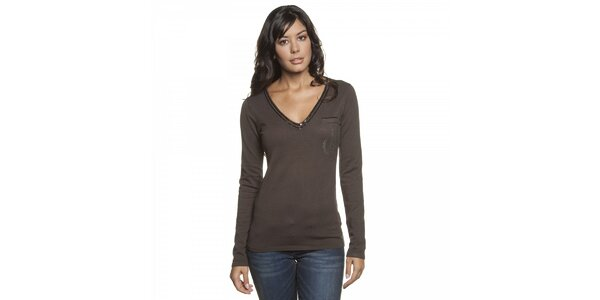 Dámský tmavě hnědý svetr Lois s flitry