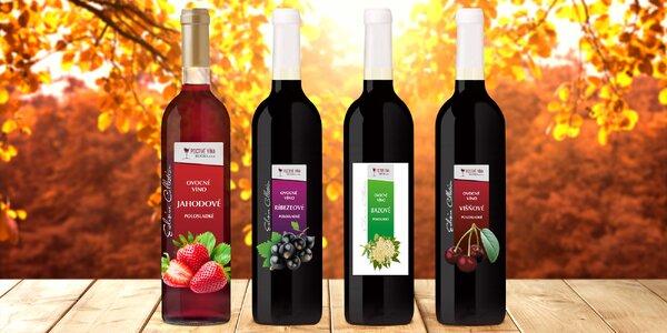 Set 6 ovocných vín: jahoda, višeň i černý rybíz
