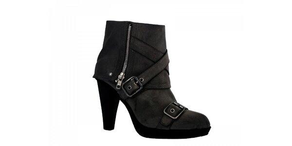 Dámské černé boty Red Hot se zipem a pásky