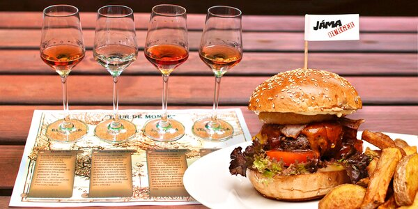 Hovězí burger a degustace 4 rumů pro 2 osoby