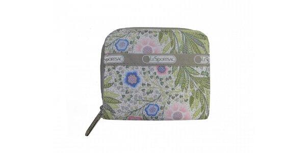 Dámská světle zelená peněženka LeSportsac s květinovým potiskem