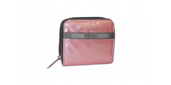 Dámská lakovaná růžová peněženka LeSportsac se třpytkami