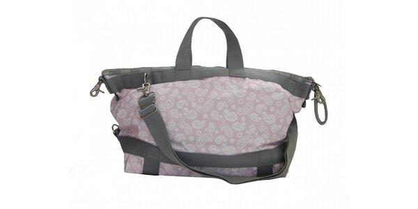 Dámská světle růžová taška Le Sportsac se šedým lemem