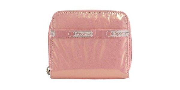 Dámská lesklá růžová peněženka LeSportsac se třpytkami