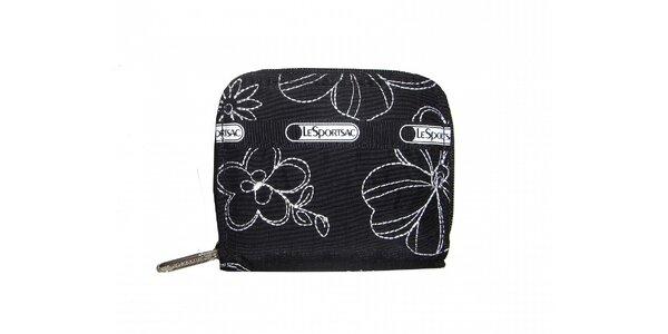 Dámská černá peněženka LeSportsac s bílým potiskem