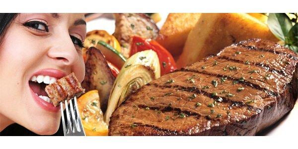 DVA poctivé bifteky z hovězí svíčkové a grilovaná zelenina