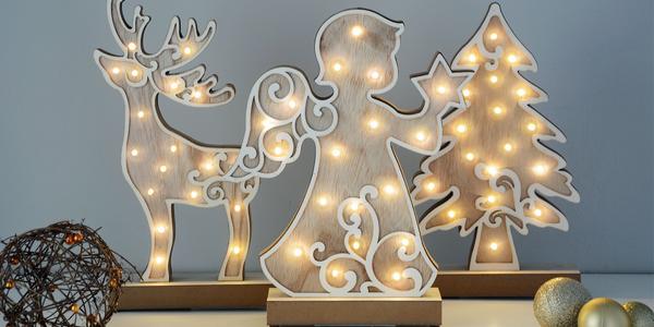 Vánoční svítící dekorace ze dřeva na stůl i krb