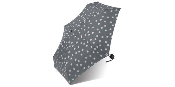 Dámský světle šedý puntíkovaný deštník Esprit