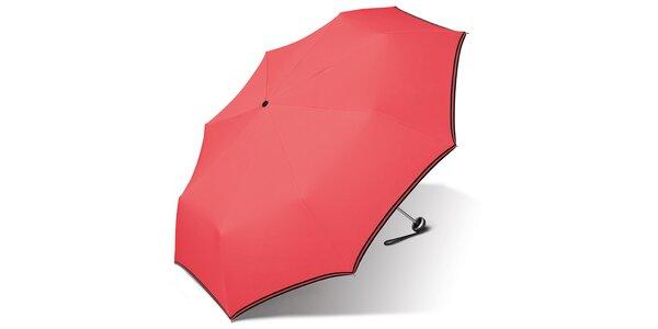 Dámský korálově růžový deštník Esprit s černým lemem