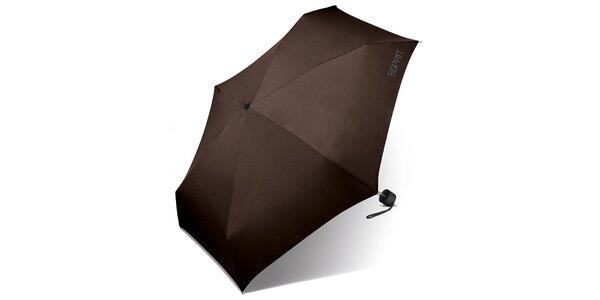 Tmavě hnědý skládací deštník Esprit se šedým logem