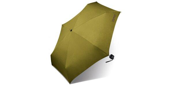 Limetkově zelený skládací deštník Esprit s fialovým logem