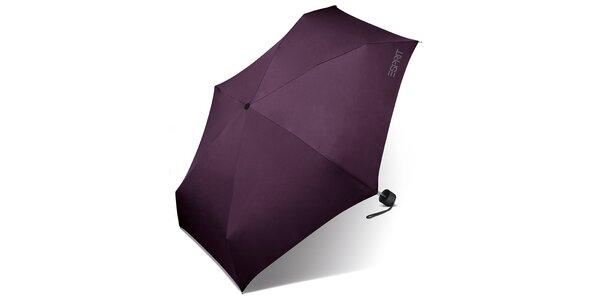 Tmavě fialový skládací deštník Esprit s šedým logem