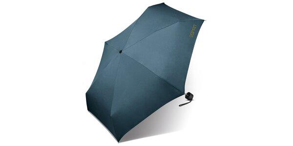 Skládací tyrkysově modrý deštník Esprit se zeleným logem