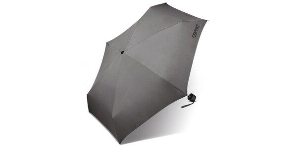 Skládací světle šedý deštník Esprit s černým logem