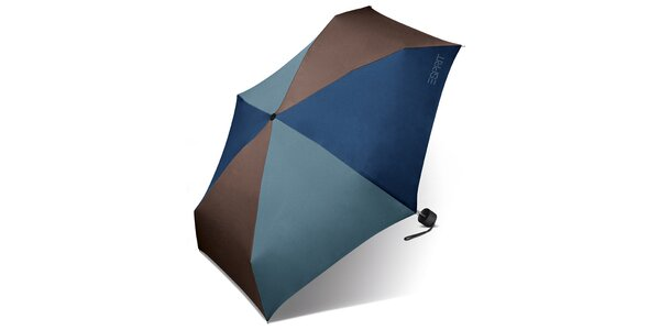 Skládací hnědo-modrý deštník Esprit s modrým logem