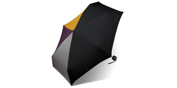 Černý skládací deštník Esprit s barevnými akcenty