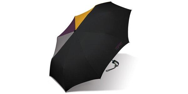 Černý skládací vystřelovací deštník Esprit s barevnými akcenty