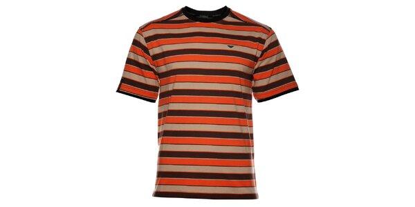 Pánské oranžovohnědé proužkované tričko Bushman