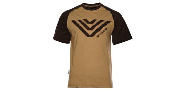 Pánské světle béžové tričko Bushman s výšivkou