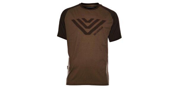 Pánské tmavě hnědé tričko Bushman s výšivkou