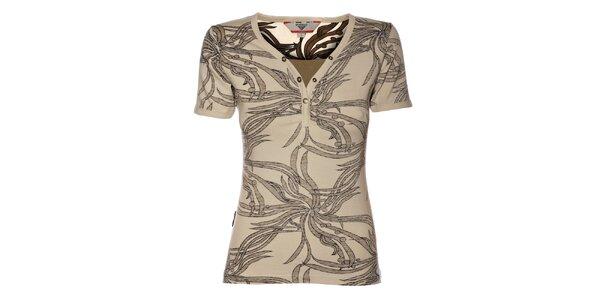 Dámské tričko Bushman s tmavě hnědým potiskem džungle