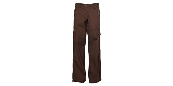 Pánské tmavě hnědé plátěné kalhoty Bushman