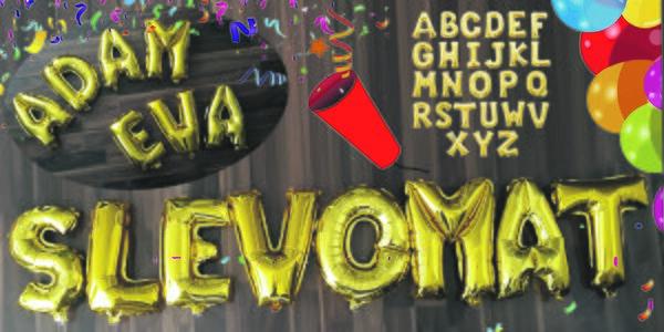 Nafukovací zlaté balónky ve tvaru písmen - 40 cm