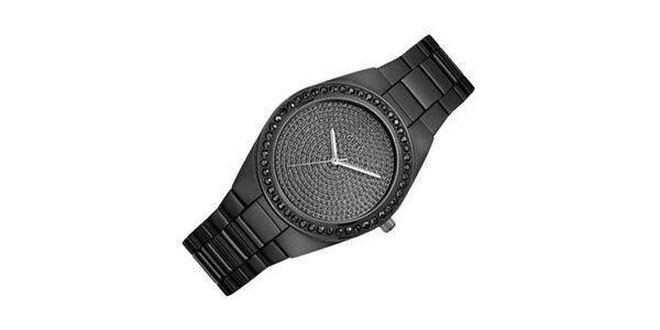 Dámské černé hodinky Guess s kamínky